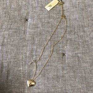 NWT fossil gold heart silver key necklace